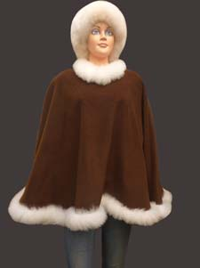 Image result for Alpaca Fur Trimmed Poncho